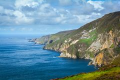 Slieve League, County Donegal, Ireland. Sliabh Liag, sometimes Slieve League or Slieve Liag, is a mountain on the Atlantic coast of County Donegal, Ireland stock photography