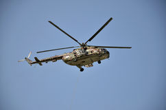 Sliac, Slovakia - August 27, 2011: Flight display of Helicopter Mil Mi-17M in air show Royalty Free Stock Photos