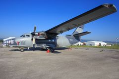 Turbolet l410. SLIAC, SLOVAKIA - AUGUST 30: Turbolet l410 fighter plane at SIAF airshow in Sliac, Slovakia Stock Images