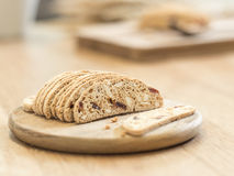 Slice almond  biscuit cookie on wooden tray Stock Images