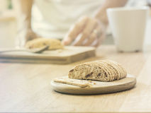 Slice almond  biscuit cookie on wooden tray Royalty Free Stock Images