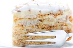 Slice of almond cake. Close up Royalty Free Stock Image
