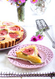 Slice of almond and fig tart Royalty Free Stock Photography