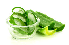 Slice Aloe Vera on White Background. Royalty Free Stock Images