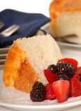 Slice of Angel Food Cake with fresh fruit Royalty Free Stock Image