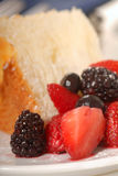 Slice of Angel Food Cake with fresh fruit Royalty Free Stock Images
