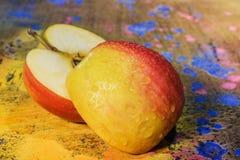 Slice apple- art paint Stock Photo
