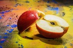 Slice apple- art paint Stock Photos