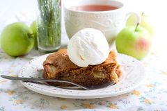 Slice of apple cake Stock Images