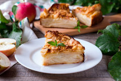 Slice of apple fruit pie on a plate Stock Photos