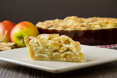 Slice of apple pie with copy space, horizontal. Slice of freshly made apple pie with pastry lattice top, on flat plate with apples, cinnamon sticks and the rest stock photos