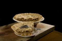 Slice of apple pie with fork. Royalty Free Stock Image