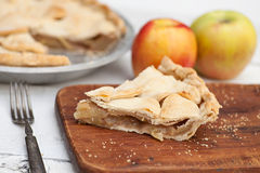 Slice of apple pie with heart shaped crust topping Royalty Free Stock Photo