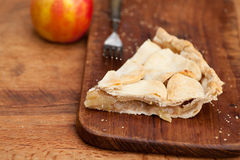 Slice of apple pie with heart shaped crust topping Stock Photography