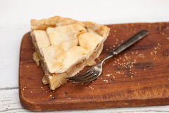 Slice of apple pie with heart shaped crust topping Royalty Free Stock Images