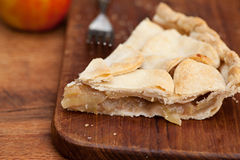 Slice of apple pie with heart shaped crust topping Royalty Free Stock Image