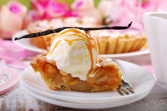 Slice of apple pie with vanilla ice cream Stock Image