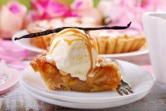 Slice of apple pie with vanilla ice cream Stock Image