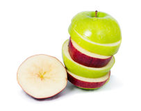 Slice apple. Red and green Stock Image