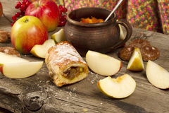 Slice of Apple strudel or apple pie Royalty Free Stock Images