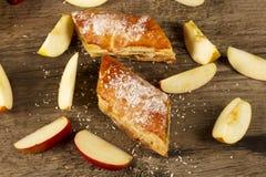 Slice of Apple strudel or apple pie Stock Photo