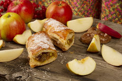 Slice of Apple strudel with apples Stock Image