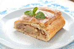 Slice of apple strudel on the plate Stock Image