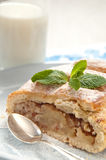 Slice of apple strudel with ta glass of milk Royalty Free Stock Photos