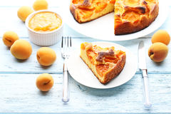 Slice of apricot pie Royalty Free Stock Images