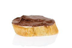 Slice of baguette with chocolate cream Stock Photography