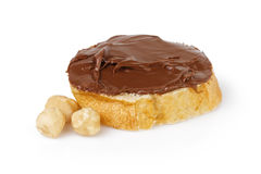 Slice of baguette with chocolate cream Royalty Free Stock Photo