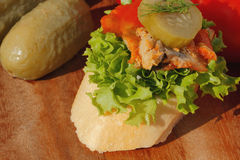 Slice of baguette witht Herring fillets in tomato sauce Stock Images