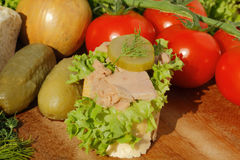Slice of baguette witht tuna fillet Royalty Free Stock Photo