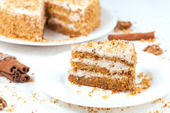 Slice of baked easter carrot cake with raisins and Stock Photography