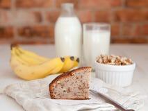 A slice of banana bread with walnuts Royalty Free Stock Photography