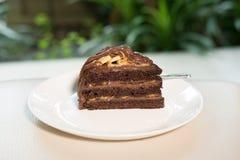 Banana caramel chocolate cake. tasty delicious dessert on white Stock Photography
