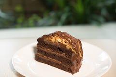 Banana caramel chocolate cake. tasty delicious dessert on white Royalty Free Stock Photo