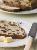 Slice of Barm Brack with Butter Royalty Free Stock Photography