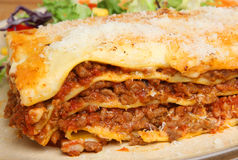 Slice of Beef Lasagna or Lasagne Stock Images
