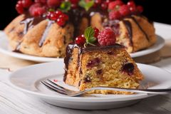 Slice of berry pie with chocolate close-up horizontal Royalty Free Stock Photos