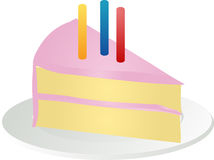 Slice of birthday cake Stock Photo