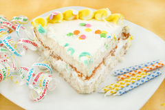 Slice of birthday cake Stock Photography