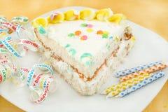 Slice of birthday cake stock photography