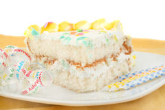 Slice of birthday cake Royalty Free Stock Photography