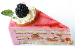 Slice blackberry pie. Fresh slice blackberry dessert (isolated Royalty Free Stock Photography