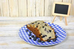 Slice blueberry bread with chalkboard Stock Images