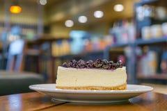 Slice of blueberry cheesecake. Royalty Free Stock Image