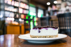 Slice of blueberry cheesecake. Stock Images