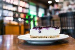 Slice of blueberry cheesecake. Royalty Free Stock Photo