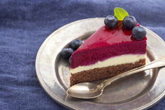 Slice of blueberry cheesecake4 Royalty Free Stock Photography